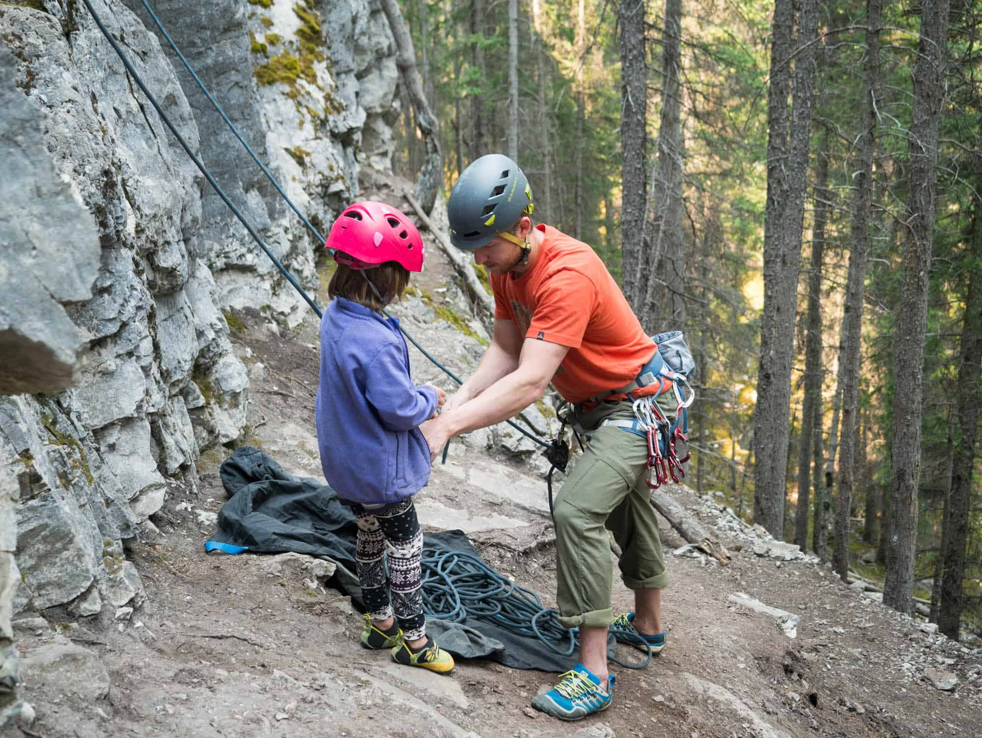 Rock Climbing With Kids In Jasper National Park Ab