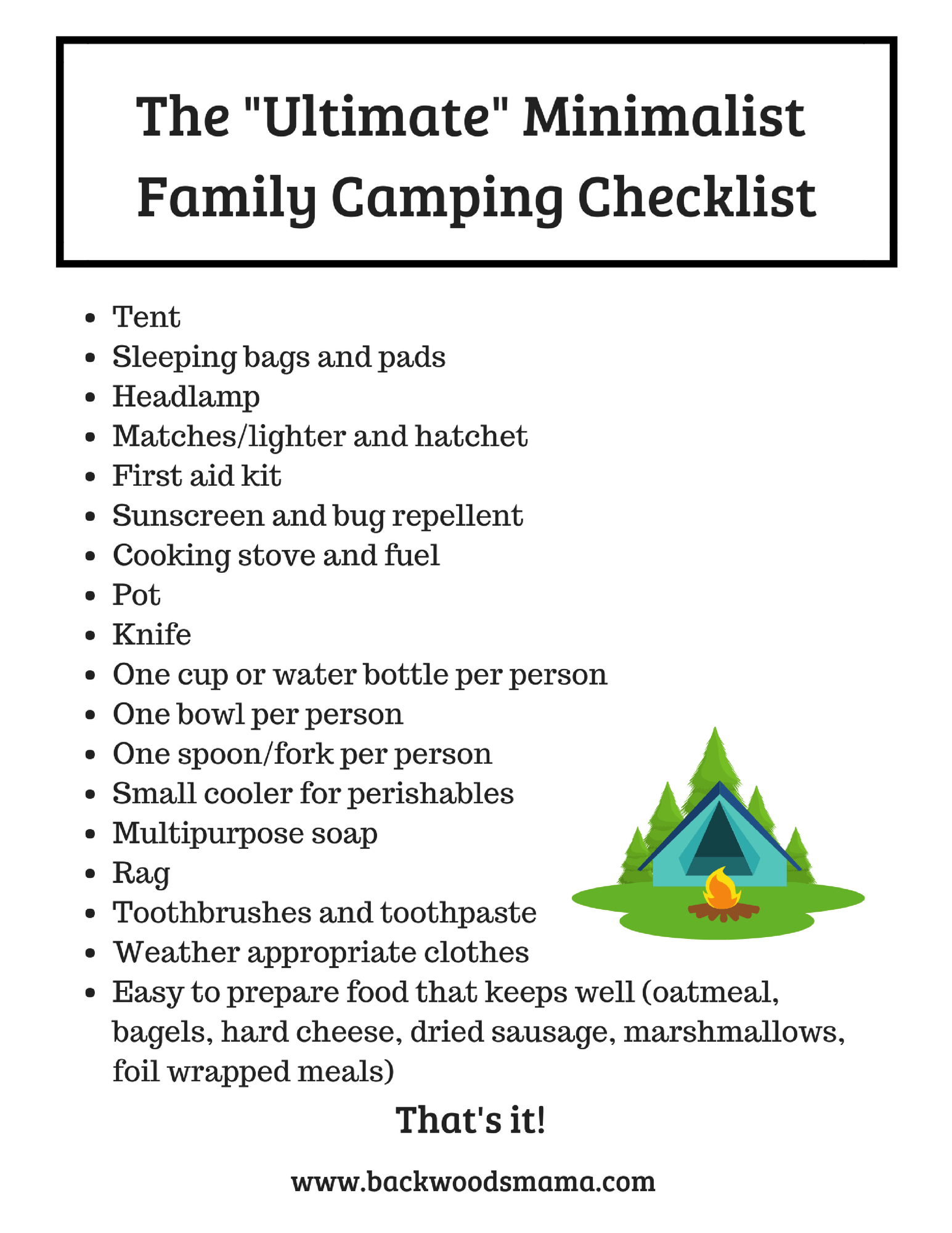 photo about Camping Food List Printable referred to as Crank out Spouse and children Tenting Direction Even more Exciting Pack Significantly less! Backwoods Mama